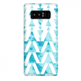 Galaxy Note 8  Marble triangles 2 by Laura Grant (marble,triangle,geometric,blue)