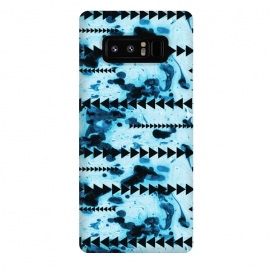 Galaxy Note 8  marble stripe by Laura Grant (marble,geometric,triangle,blue,pattern)