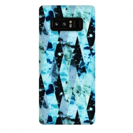 Galaxy Note 8  Marble diamonds by Laura Grant (marble,blue,geometric,diamond)