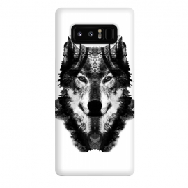 Galaxy Note 8  The Black Forest Wolf  by Rui Faria (wolf,wolves,nature,black and white,ink,paint,forest)