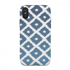 iPhone Xs / X  Ikat Linocut by  (ikat,boho,pattern,fashion,linocut)