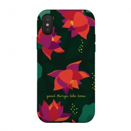 iPhone Xs / X  Midnight Flowers - Green by Stefania Pochesci (Floral,pattern,inspirational quote,green,woods,midnight,nocturne,illustration)