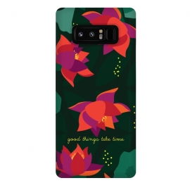 Galaxy Note 8  Midnight Flowers - Green by Stefania Pochesci