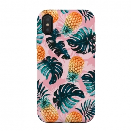 Pineapple and Leaf Pattern by Burcu Korkmazyurek (pineapple,leaf,pattern,garden,forest,jungle,tropical,nature,vintage,retro)