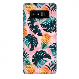 Galaxy Note 8  Pineapple and Leaf Pattern by  (pineapple,leaf,pattern,garden,forest,jungle,tropical,nature,vintage,retro)