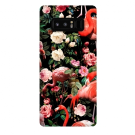 Galaxy Note 8  Floral and Flemingo Pattern by Burcu Korkmazyurek (animals,flamingos,nature,birds,garden,forest,night,jungle,tropical,botanical)