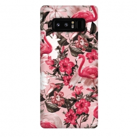 Galaxy Note 8  Floral and Flemingo III Pattern by  (floral,flamingo,animals,birds,nature,garden,jungle,tropical,botanical,exotic)