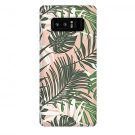 Galaxy Note 8  Hideaway by Heather Dutton (tropical,tropical pattern,tropical print,tropical leaves,hawaii,palm,palm leaves,nature,nature inspired,pattern,pink,green,tropics)