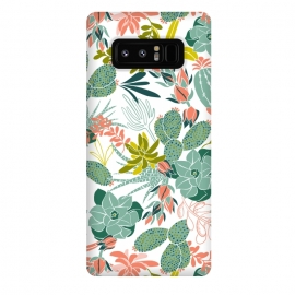 Galaxy Note 8  Succulent Garden White by Heather Dutton (succulent,succulents,tropical,tropical pattern,tropical print,cactus,nature,nature inspired,desert,plant,plants,white)
