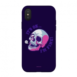 iPhone Xs / X  [ba dum tees] I'm Fine by  (skull,skelleton,humor)