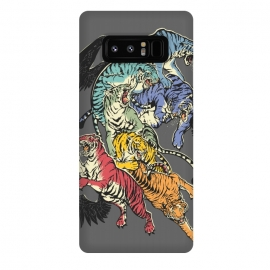 Galaxy Note 8  Seven Caged Tigers by Draco (tiger, rainbow,wings,colors)