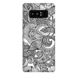 Galaxy Note 8  Doodles by Valentina Harper (flowers,black&white)