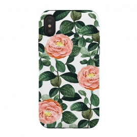 iPhone Xs / X  Josephine by Uma Prabhakar Gokhale (graphic, rose, roses, floral, botanical, nature, leaves, tropical, blush, exotic, blossom, bloom, green, lush)