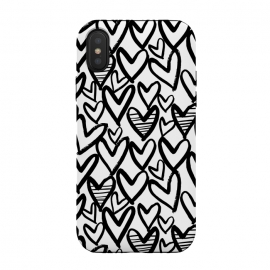 iPhone Xs / X  Black and white hearts by  (heart,love,love heart,painted)