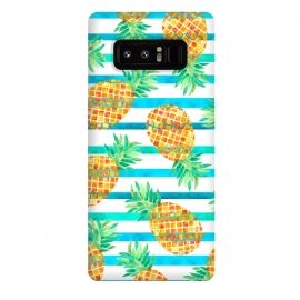 Galaxy Note 8  Pineapple Sea Stripes by Amaya Brydon (pineapple,fruit,stripes,geometric,summer,sea)