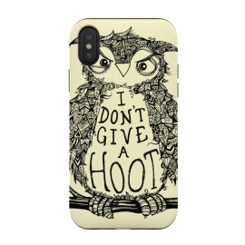 iPhone Xs / X  No Hoots Given by Wotto (Nature,owl,hoot,attitude, type, saying, slogan,no hoots,grumpy,owl art,pattern,detailed,drawing,hand drawn,bird,tree,cream,angry bird,typography,slogan art,inspirational,no worries,no cares,free,wotto, cute character, cute bird)