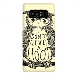 Galaxy Note 8  No Hoots Given by Wotto (Nature,owl,hoot,attitude, type, saying, slogan,no hoots,grumpy,owl art,pattern,detailed,drawing,hand drawn,bird,tree,cream,angry bird,typography,slogan art,inspirational,no worries,no cares,free,wotto, cute character, cute bird)