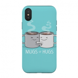 iPhone Xs / X  Mugs of Hugs by Wotto (mugs, coffee, java,caffeine, coffee lover, positive,fun, funny, cute, coffee art,characters,hugs, love,hugging, mondays,mornings, friends, friendship,mates,steam,smiles,loving, caring,gift)