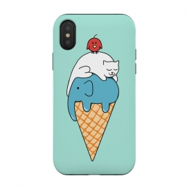 iPhone Xs / X  Animals Ice Cream by Coffee Man (animals, cute, adorable, cat, cat lover, elephant, bird, kid, kids, children, ice cream, fun, funny, humor, food)