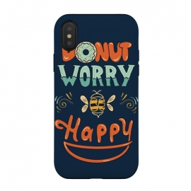 Donut Worry Be Happy by Coffee Man (donut, dont worry, be happy, happy, music, quote, phrase,funny, fun, cute, lettering,hand lettering, bee,vintage, retro)