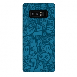 Galaxy Note 8  Blue Doodle by Wotto (Doodle, doodles,characters, blue,doodle art, detailed,illustration, sketch, drawing, fun, illustrative,lines, blue only, color,animals,cute art, kawaii)