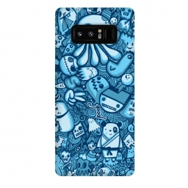 Galaxy Note 8  Raindrops and Doodles by Wotto (sea, ocean, doodles,doodle,drawing, sketch,doodle art,pattern, detailed, characters, cute, fun, kawaii,ocean creatures,blue, blues,line,line art, hand drawn,drawings,wotto)
