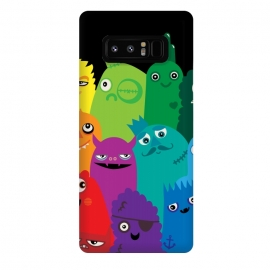 Galaxy Note 8  Phone full of Monsters by  (bright, monsters, colorful,bold, characters, kids, child friendly,fun, unique,rainbow,monster,funny,cute, kawaii, wotto,vector art, vectors)