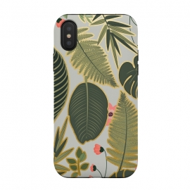 iPhone Xs / X  Jacqueline v2 by Uma Prabhakar Gokhale (graphic, pattern, floral, nature, botanical, tropical, monstera, palm leaves, palm, blossom, exotic)