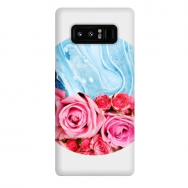 Galaxy Note 8  Unexpected Blossom by  (collage, 3 d, agate, agates, tropical, floral, roses, pink, exotic, blue, navy blue, royal blue, blush, paint filter, geometric)
