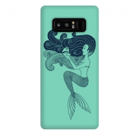 Galaxy Note 8  Mermaid Night green by Coffee Man (mermaid, ocean,summer,sprng break,night,stars,mytology,sea,beach,landscape,magic,girl)