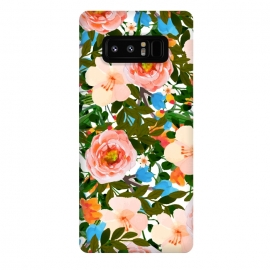 Galaxy Note 8  Rose Garden by  (watercolor, pattern, rose, tropical, exotic, colorful, floral nature blossom bloom, nature blush, pink blue green, vibrant color pop)