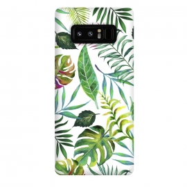 Galaxy Note 8  Tropical Flora by  (watercolor, pattern, tropial, nature, botanical, monstera, palm, banana leaves, banana leaf, green, blue, pink, leaves)