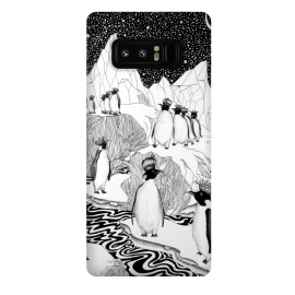 Galaxy Note 8  Too Many Kings by ECMazur  (penguin,king,animal,bird,arctic,ice,ocean,sky,night,whimsical,surrealism)