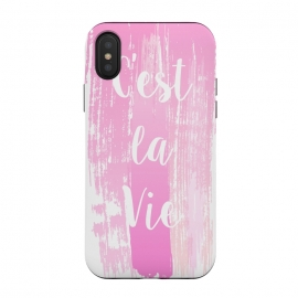 C'est la vie pink watercolour by Martina (fashion, fashionable, stylish, modern, feminine, pretty, girlie, art,artwork, illustration, drawing, woman, girl, gift for her,typography, words, motto,quote,pink,watercolor,watercolour,c'est la vie,that is life)