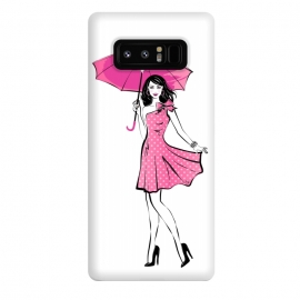 Galaxy Note 8  Pretty girl with umbrella by Martina (fashion, fashionable, stylish, modern, feminine, pretty, girlie, art,artwork, illustration, drawing, woman, girl, gift for her,umbrella, pink,happy,figure,body,dress,polka dots)