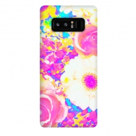 Galaxy Note 8  Nostalgia by Uma Prabhakar Gokhale (graphic-design, digital, pattern, floral, exotic, nature, flowers, blossom, nostalgia, vintage, bloom, botanical, garden, pink, yellow)