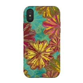 iPhone Xs / X  Poppytops by Lotti Brown (flowers,floral,nature,fun,bright,mandala,firework,summer,autumn,fall)