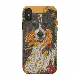 iPhone Xs / X  Border Collie by Lotti Brown (border collie, collie,sheepdog,sheep dog,dog,dogs,pet, pets,animals,happy)