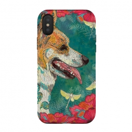 iPhone Xs / X  Corgi and Fairies by Lotti Brown (corgi,dog,dogs,pet,pets,animal,fairy,happy,colorful)