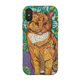 iPhone Xs / X  Mandala Cat by Lotti Brown (cat, ginger cat,kitty,pet,pets,animal,cats,mandala,zen,happy,colorful)