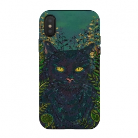 iPhone Xs / X  Black Cat in Ferns by Lotti Brown (black cat,cat,magic,halloween,witches,pet,pets,animal,cats,mysterious,eyes)