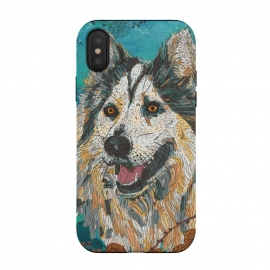 iPhone Xs / X  Husky by Lotti Brown (husky,malamute,wolf,dog,dogs,pet,pets,animals,nature,wildlife,happy,colorful)