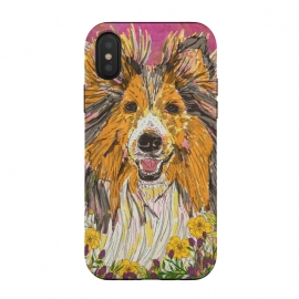 iPhone Xs / X  Shetland Sheepdog (Sheltie) by Lotti Brown (sheltie,shetland sheepdog,rough collie, collie,sheepdog,dog,dogs,pet,pets,animal,happy,colorful,smile)