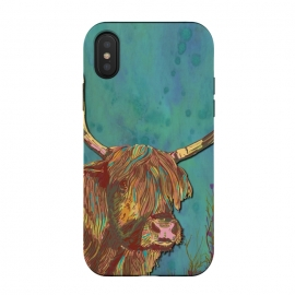 iPhone Xs / X  Highland Cow by Lotti Brown (highland cow,cow,animal,scotland,scottish,farm,countryside,nature,fields)