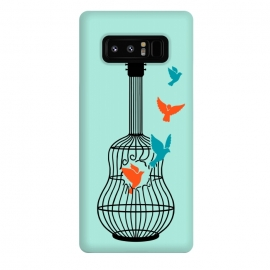 Galaxy Note 8  freedom music green by Coffee Man (music, guitar, musician, bird, birds,animals,cute, adorable,freedom,liberty,song,pet lover,animal lover)