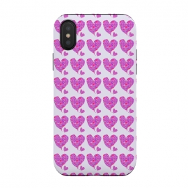 iPhone Xs / X  Happy Heart by  (hearts,love,valentine,pink,purple,floral,flowers,whimsical,happy,romantic,girl,feminine)