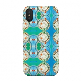 iPhone Xs / X  Electric Boogaloo by  (geo,geometric,mandala,blue and green,bright colors,fun,whimsical)