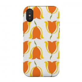 iPhone Xs / X  Tulips d'Orange by  (orange,tulips,yellow,sunshine,happy,warm,pattern,flowers,floral,geometric)