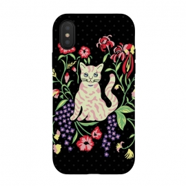 iPhone Xs / X  Cutie Cat with Flowers by Michael Cheung