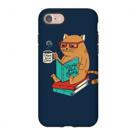 iPhone 8/7  Cat drink good coffee read good books by Coffee Man (cat, catas,read, books, coffee, coffee lovers,animals,cute, adorable,funny,pet, pets lover,kitty,nerd,cat lady)